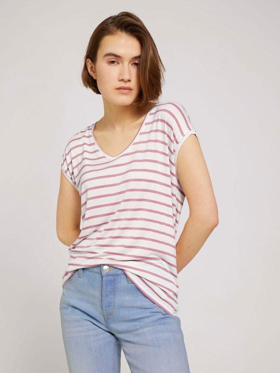 Gestreiftes T-Shirt im Loose-Fit - Frauen - rose white stripe - 5 - TOM TAILOR Denim