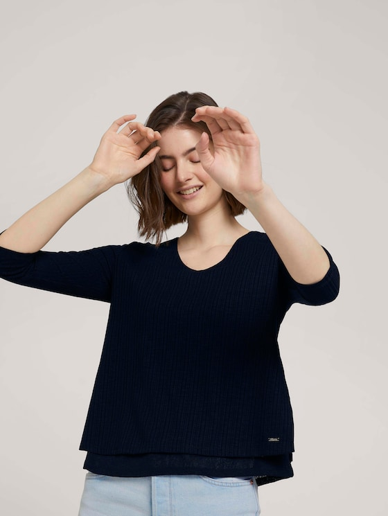 Shirt mit Ripp-Struktur - Frauen - Sky Captain Blue - 5 - TOM TAILOR Denim