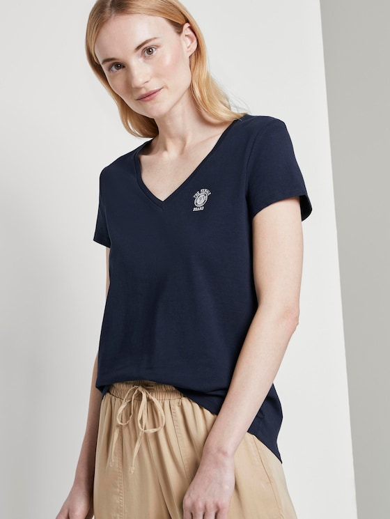 Basic T-Shirt mit Brustprint - Frauen - Real Navy Blue - 5 - TOM TAILOR Denim