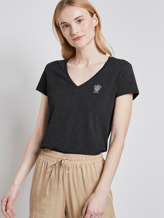 Basic T-shirt met print op de borst - Vrouwen - Shale Grey Melange - 5 - TOM TAILOR Denim