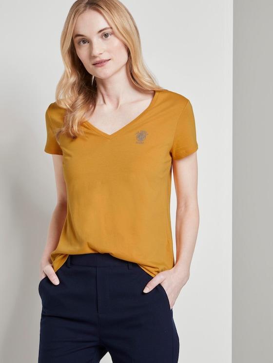 Basic T-shirt met print op de borst - Vrouwen - Sunflower - 5 - TOM TAILOR Denim