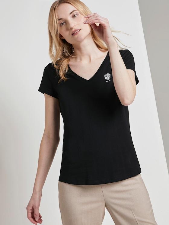 Basic T-shirt met print op de borst - Vrouwen - Deep Black - 5 - TOM TAILOR Denim