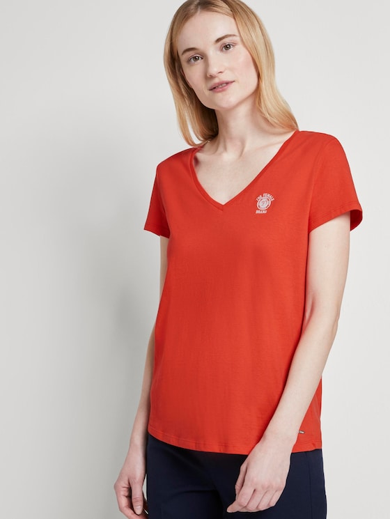 Basic T-shirt with a chest print - Women - brilliant red - 5 - TOM TAILOR Denim
