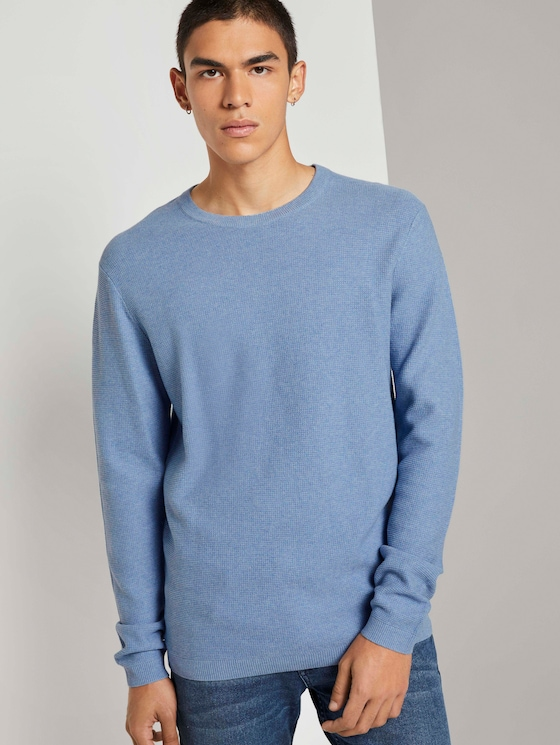 Pullover mit Waffelstruktur - Männer - soft light blue melange - 5 - TOM TAILOR Denim