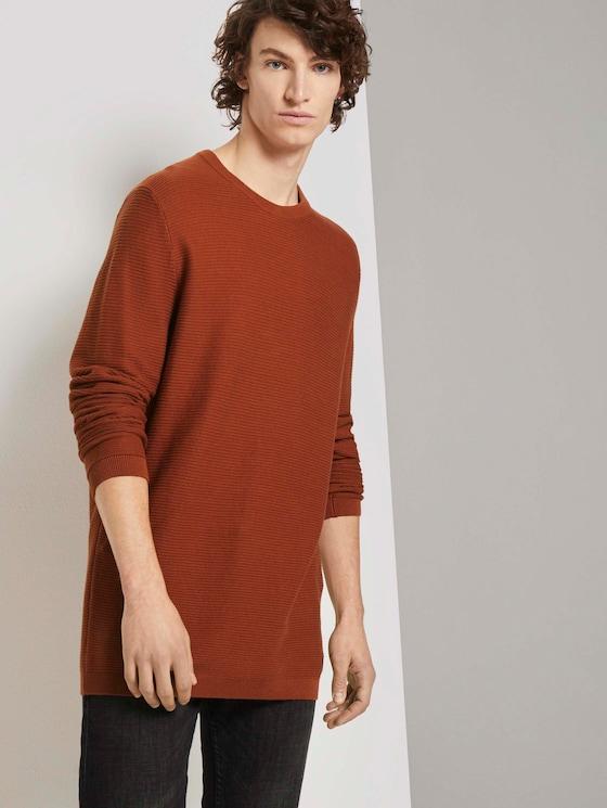 Langer Pullover mit Struktur - Männer - Goji Orange - 5 - TOM TAILOR Denim