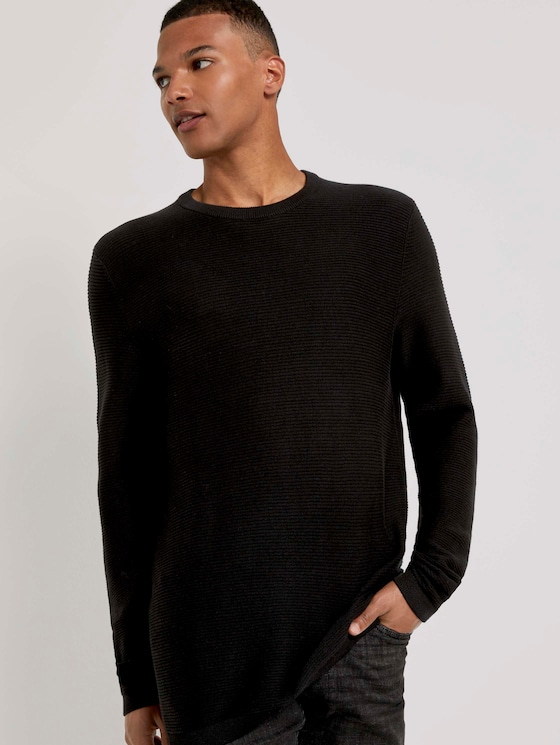 Langer Pullover mit Struktur - Männer - Black - 5 - TOM TAILOR Denim