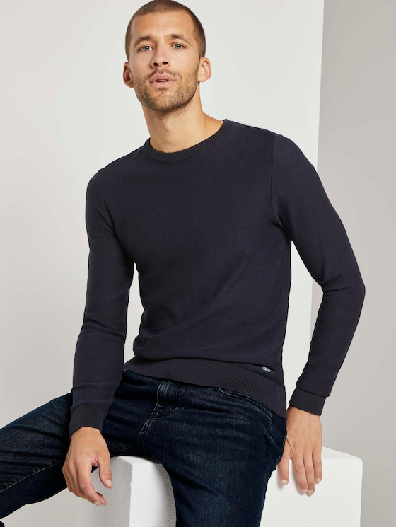 Basic Pullover mit Streifenstruktur - Männer - Knitted Navy - 5 - TOM TAILOR