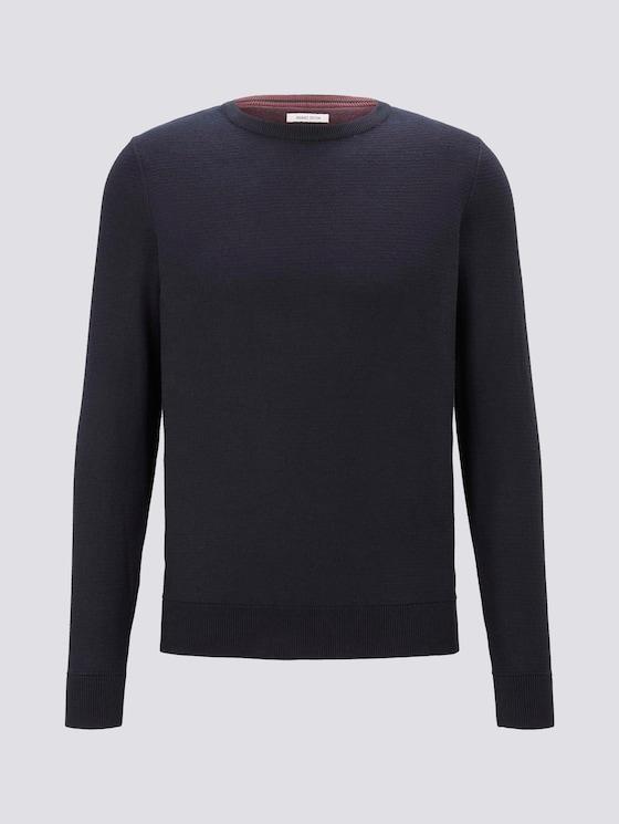 Basic Pullover mit Streifenstruktur - Männer - Knitted Navy - 7 - TOM TAILOR