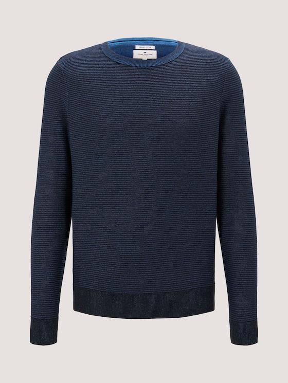 Basic Pullover mit Streifenstruktur - Männer - Electric Blue - 7 - TOM TAILOR