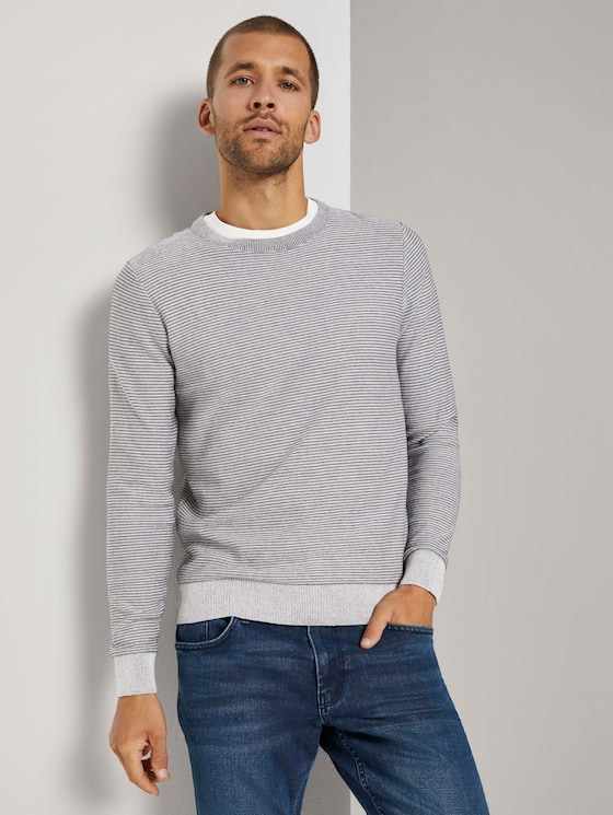 Basic Pullover mit Streifenstruktur - Männer - Light Medium Grey Melange - 5 - TOM TAILOR