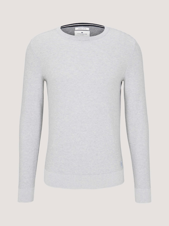 Basic Pullover mit Streifenstruktur - Männer - Light Soft Grey Melange - 7 - TOM TAILOR