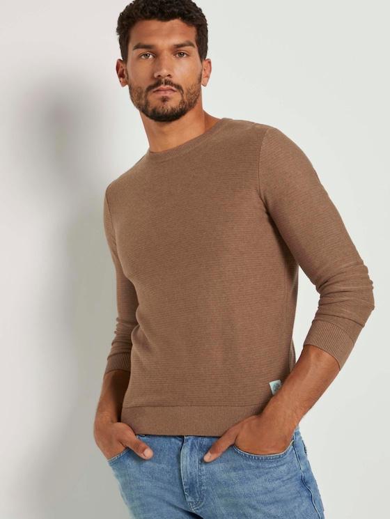 Basic pullover with a striped pattern - Men - brown oak melange - 5 - TOM TAILOR