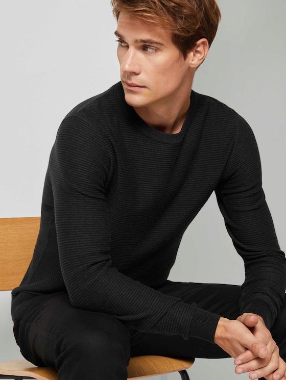 Basic Pullover mit Streifenstruktur - Männer - Black - 5 - TOM TAILOR