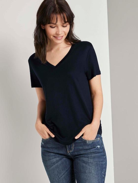 Basic T-Shirt aus Lyocell - Frauen - Sky Captain Blue - 5 - TOM TAILOR