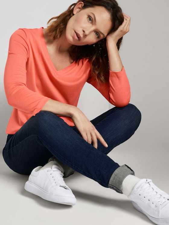 Shirt mit 3/4 Arm - Frauen - strong peach tone - 5 - TOM TAILOR