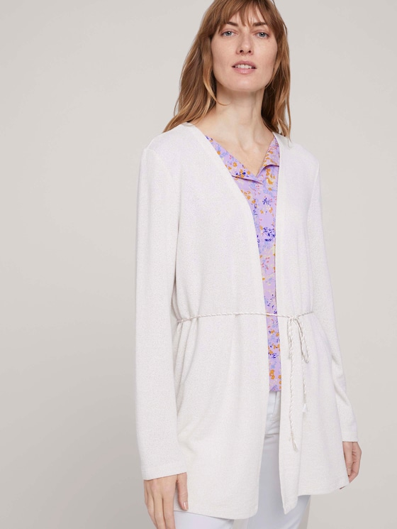 langer Cardigan aus Sweat - Frauen - dusty alabaster melange - 5 - TOM TAILOR