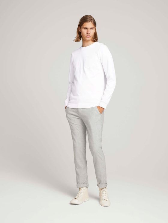 Textured chinos with a belt - Men - silver grey check - 3 - TOM TAILOR Denim