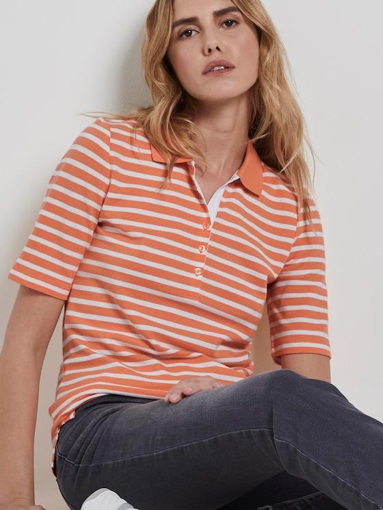 Gestreiftes Poloshirt - Frauen - melon offwhite stripe - 5 - TOM TAILOR