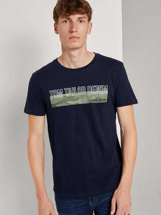 T-Shirt mit Camouflage-Print - Männer - Sky Captain Blue - 5 - TOM TAILOR Denim
