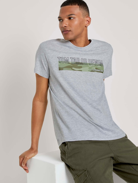 T-Shirt mit Camouflage-Print - Männer - Light Stone Grey Melange - 5 - TOM TAILOR Denim
