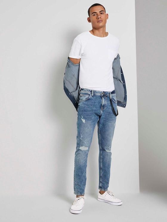 Conroy Tapered Jeans - Männer - Destroyed Light Stone Blue Den - 3 - TOM TAILOR Denim