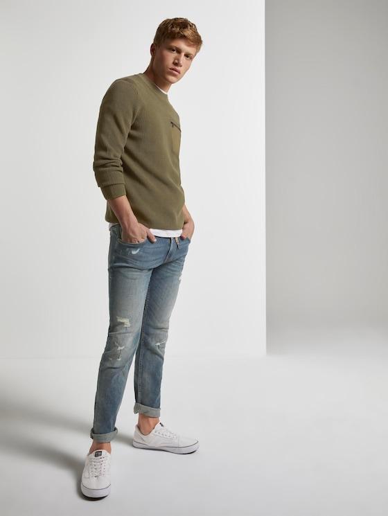 Piers slim jeans in a destroyed look - Men - destroyed mid stone wash - 3 - TOM TAILOR Denim