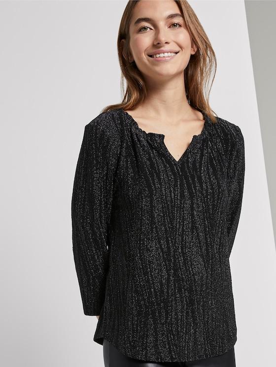 Glitzer-Shirt in Crincle-Optik - Frauen - Deep Black - 5 - TOM TAILOR