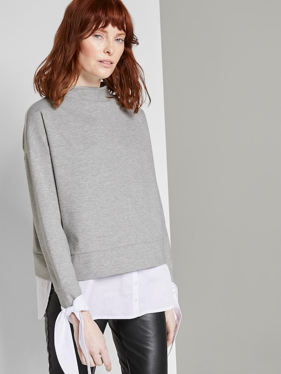 Sweatshirt mit Hemd-Underlayer - Frauen - Light Stone Grey Melange - 5 - TOM TAILOR