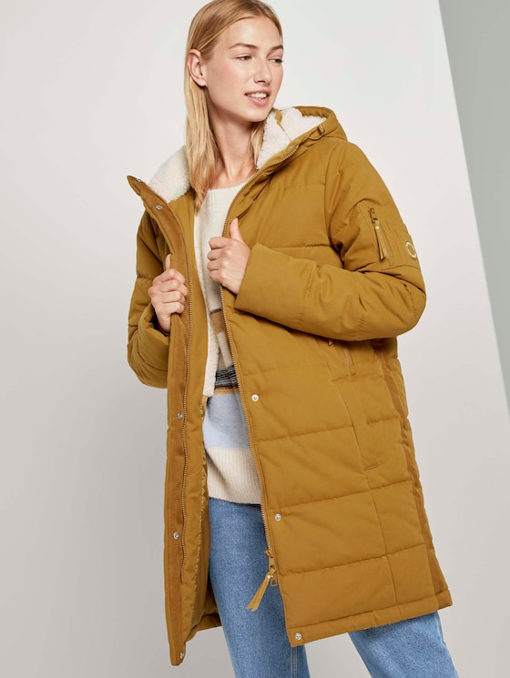 Lange Pufferjacke mit Teddyfutter - Frauen - warm curry yellow - 5 - TOM TAILOR Denim