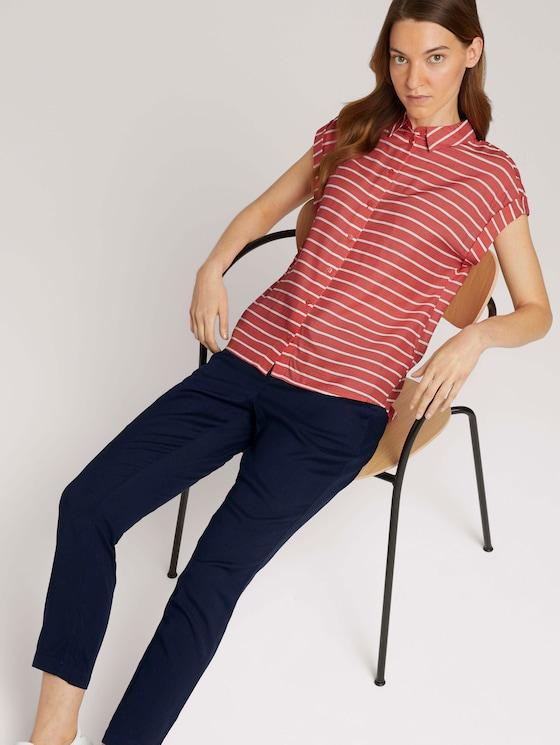 Gestreifte Kurzarmbluse - Frauen - red offwhite stripe - 5 - TOM TAILOR