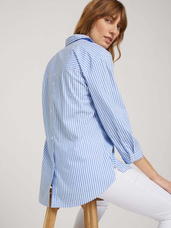 Popeline Bluse mit Knopfleiste am Rücken - Frauen - blue offwhite thin stripe - 5 - TOM TAILOR