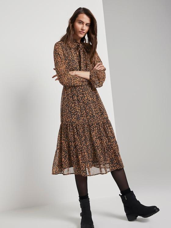 patroon midi-jurkje met flounce - Vrouwen - black and brown leo design - 5 - TOM TAILOR