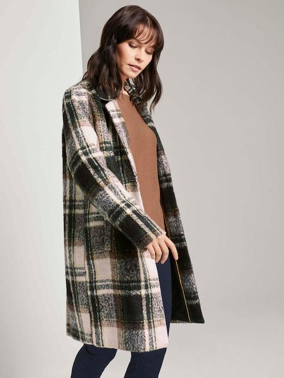 Karierter Mantel mit Steppfutter - Frauen - green beige cozy check - 5 - TOM TAILOR
