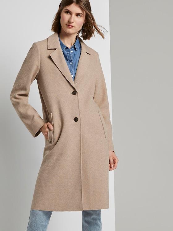 Langer Mantel mit Seitenschlitzen - Frauen - powder beige melange - 5 - TOM TAILOR