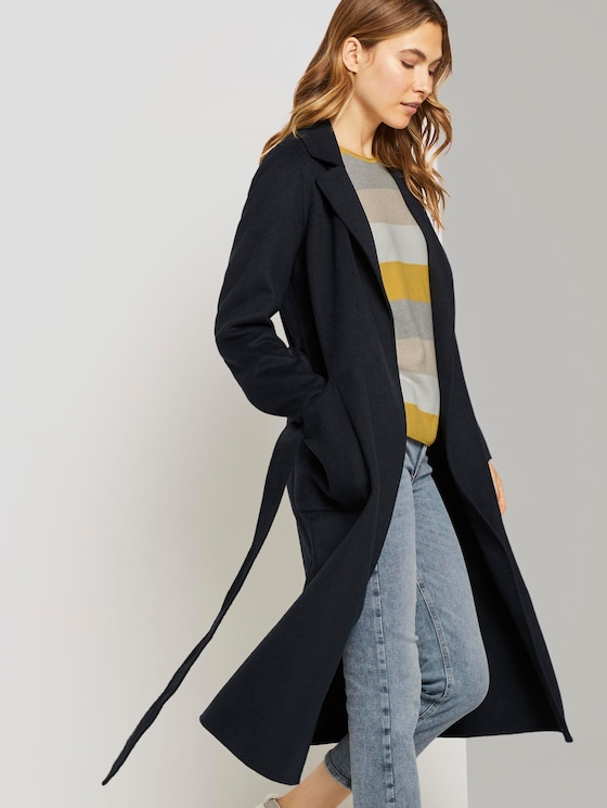 Long coat with a tie belt - Women - Sky Captain Blue - 5 - TOM TAILOR