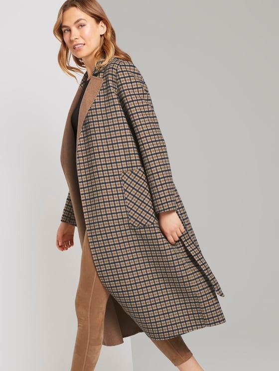 Langer Mantel mit Bindegürtel - Frauen - beige brown check design - 5 - TOM TAILOR