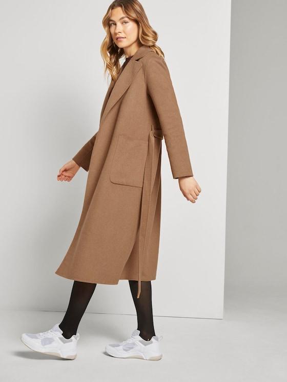 Langer Mantel mit Bindegürtel - Frauen - light chestnut - 5 - TOM TAILOR