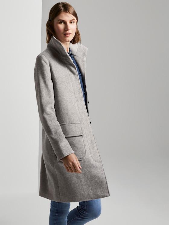 Moderner Mantel mit Stehkragen - Frauen - mid grey twill structure - 5 - TOM TAILOR