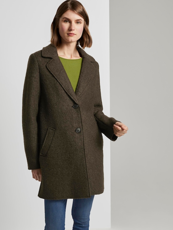 Loose bouclé coat - Women - Olive Night Green - 5 - TOM TAILOR