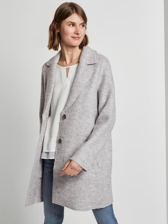 Losse bouclé jas - Vrouwen - mid grey melange - 5 - TOM TAILOR