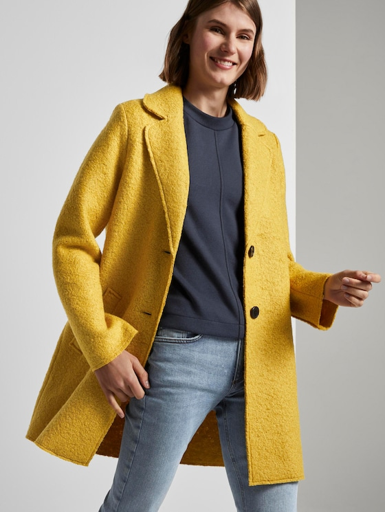 Losse bouclé jas - Vrouwen - california sand yellow - 5 - TOM TAILOR