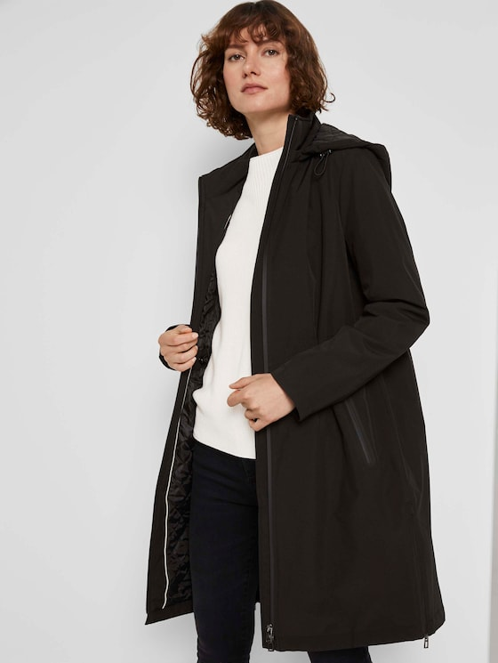 Langer Parka mit Steppfutter - Frauen - Deep Black - 5 - TOM TAILOR