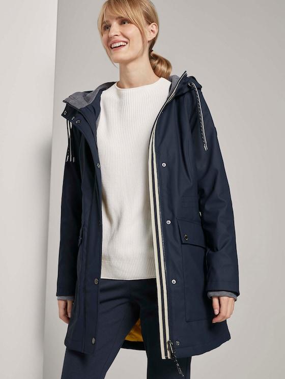 Beschichtete Regenjacke mit Kapuze - Frauen - Sky Captain Blue - 5 - TOM TAILOR