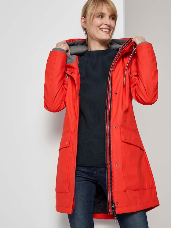 Coated rain jacket with a hood - Women - Strong Red - 5 - TOM TAILOR
