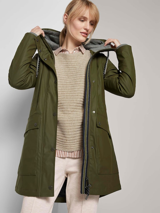 Coated rain jacket with a hood - Women - Olive Night Green - 5 - TOM TAILOR