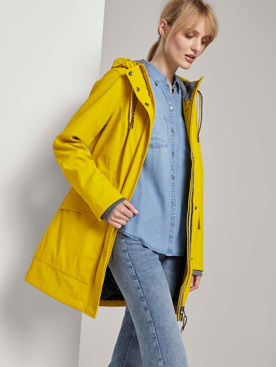 Beschichtete Regenjacke mit Kapuze - Frauen - california sand yellow - 5 - TOM TAILOR