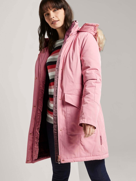 Winterparka mit Fellbesatz - Frauen - blush rose - 5 - TOM TAILOR