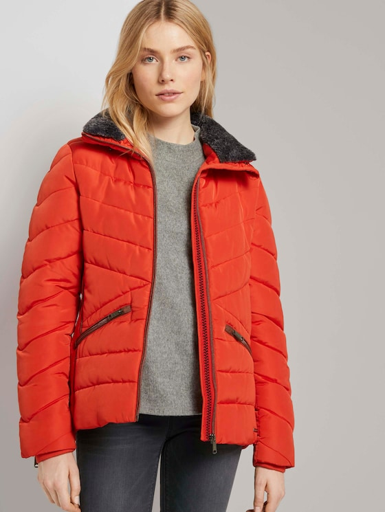 Steppjacke mit Fellkragen - Frauen - Strong Red - 5 - TOM TAILOR