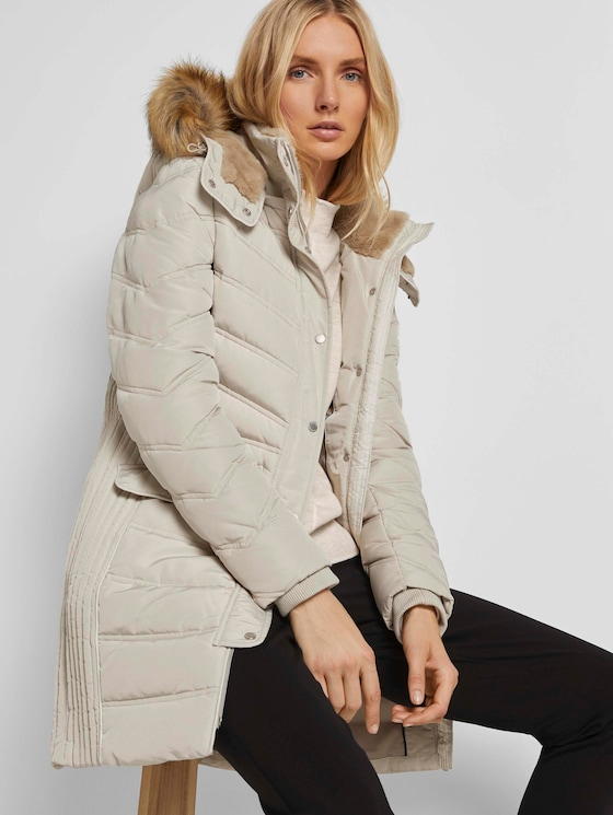 Lange Pufferjacke mit Fellbesatz - Frauen - dusty alabaster - 5 - TOM TAILOR