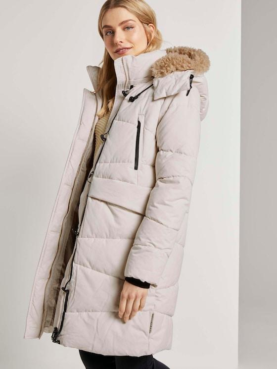 Puffer jas met bontkraag - Vrouwen - dusty alabaster - 5 - TOM TAILOR